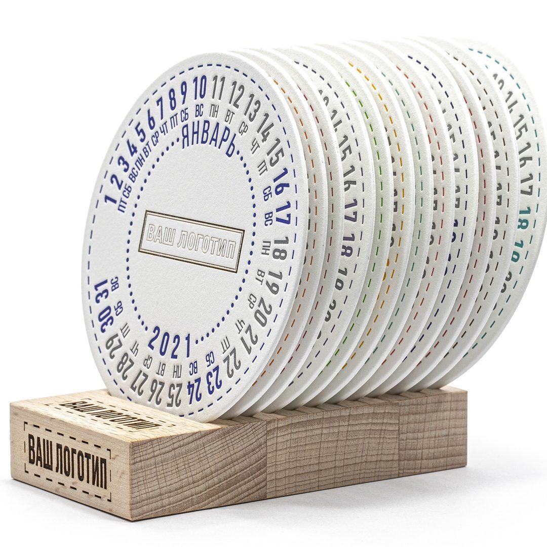 Календарь костеры под кружку на подставке